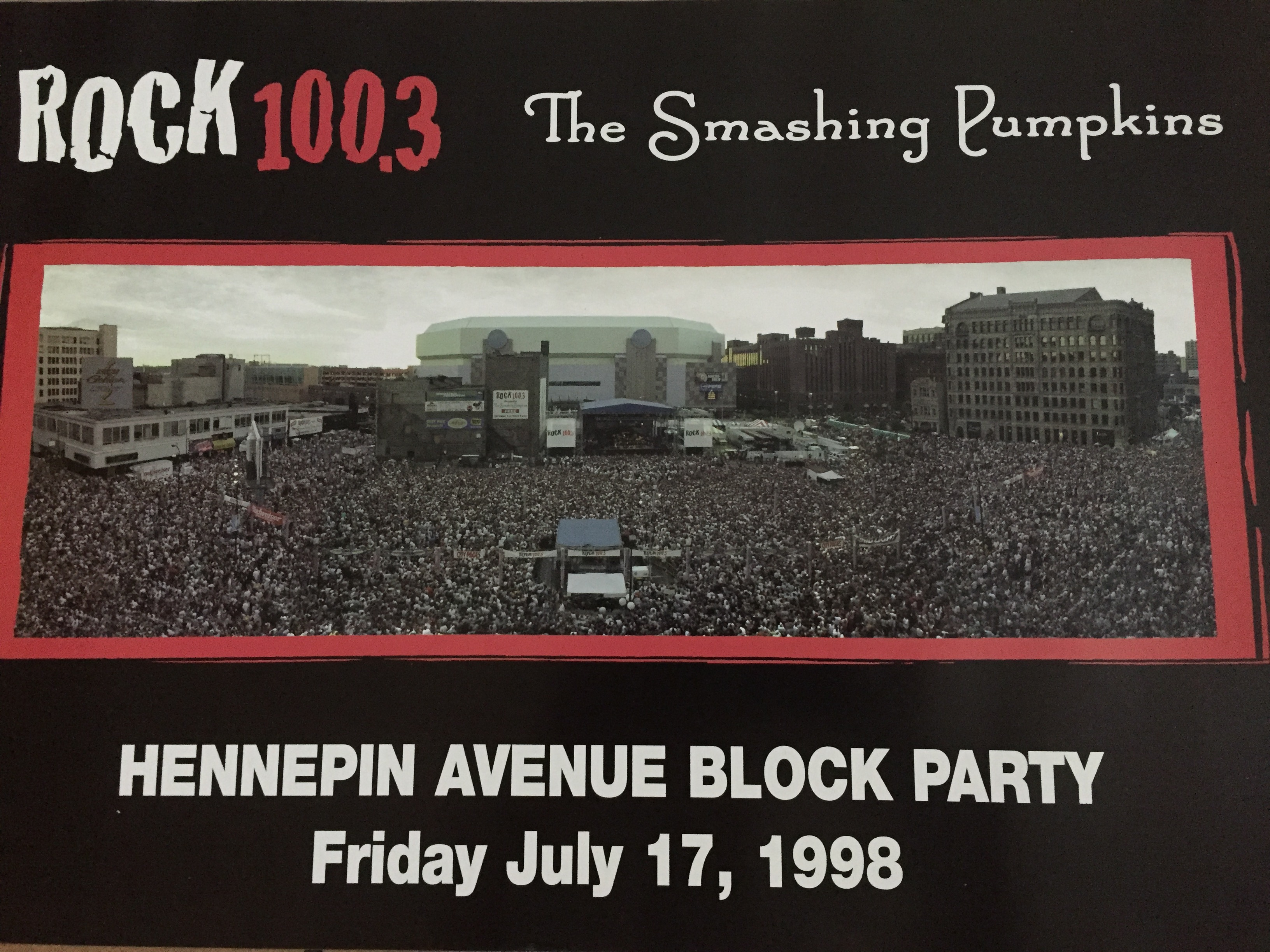 Rock 100.3 flyer for The Smashing Pumpkins, July 17, 1998